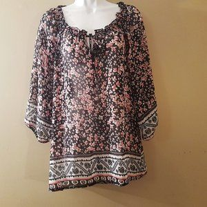 Tops - Pretty sheer floral blouse, size XL